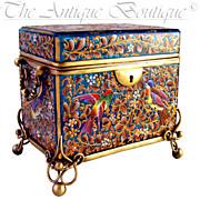 SOLD Antique 19thc Bohemian MOSER Blue Art Glass Raised Enamel Jewelry Box / Sugar Casket