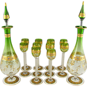 SOLD Antique Bohemian Moser 12pc Liquor Decanter Service, Green to Clear Glass, Raised Gold En