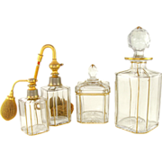 4pc Antique French Cut Crystal Vanity / Dresser Set