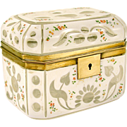 SOLD Antique Bohemian White Overlay Cut to Clear Glass Sugar Casket / Jewelry Box