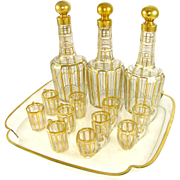 SOLD Antique 19thc French Baccarat Cut Crystal Gilt Liquor Decanter Service, Glasses & Tray