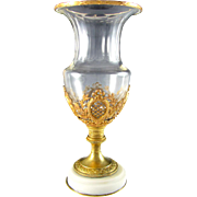 SOLD Antique French Empire Style Cut Crystal Vase, Bronze or Brass Mounts