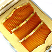 SOLD Antique French 18K Gold 3 Piece Hair Comb Set in Original Presentation Box Retailed by CL