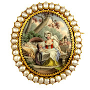 SALE Antique French 18K Yellow Gold & Baroque Pearls Brooch, Enamel Miniature Portrait of