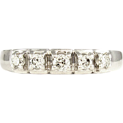 Gorgeous 14K White Gold Diamond Set Wedding Band Ring, Heart Gallery