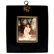 SALE Victorian Nude Leda & the Swan Miniature Portrait Enamel on Copper Plaque Papier Mache Fr