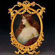 SOLD Antique Art Nouveau Hand Painted Semi-Nude Miniature Portrait Signed, Figural Cherubs Gil
