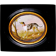 SOLD Rare Antique French Hand Painted Miniature Portrait Painting of a Hound Dog