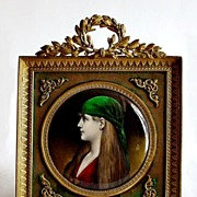 SOLD 19c. French Limoges Enamel Miniature Portrait Plaque Gilt Bronze Frame
