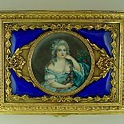 SOLD Antique French Gilt Bronze & Enamel Jewelry Casket Box Signed Miniature Portrait Painting