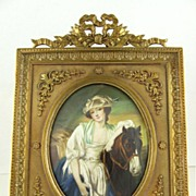 SOLD Antique French Hand Painted Miniature Portrait of The Milkmaid in Gilt Bronze Frame