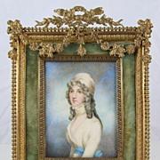 SOLD Stunning 19c French Miniature Portrait Gilt Bronze Frame