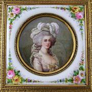 SOLD Rare Antique 19c Miniature Portrait & Porcelain Plaque Gilt Bronze Jewelry Casket / Box