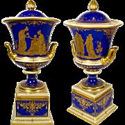 SALE Large Antique A. Lamm Dresden German Porcelain Cobalt Blue Hand Painted Raised Gold Lidde