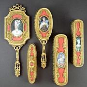 SOLD Superb 19c French Gilt Bronze & Enamel 5pc Vanity Set with Miniature Portraits
