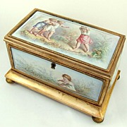 SOLD Antique French Gilt Bronze & Enamel Jewelry Casket / Box, Children at Play