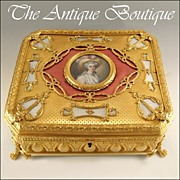 SOLD Massive Antique French Miniature Portrait & Guilloche Enamel Gilt Bronze Jewelry Casket