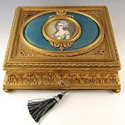 SOLD LRG Antique French Miniature Portrait & Enamel Gilt Bronze Box / Casket