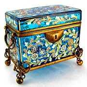SOLD Antique Moser Bohemian Enamel Glass Casket / Box