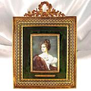 SOLD Stunning Large Antique Miniature Portrait of Amalie Von Krudener, Bronze Frame