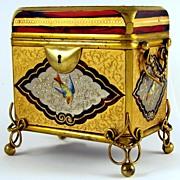 SOLD Antique Moser Gilt Enamel Ruby Glass Casket / Box, Birds! Bronze Mounts