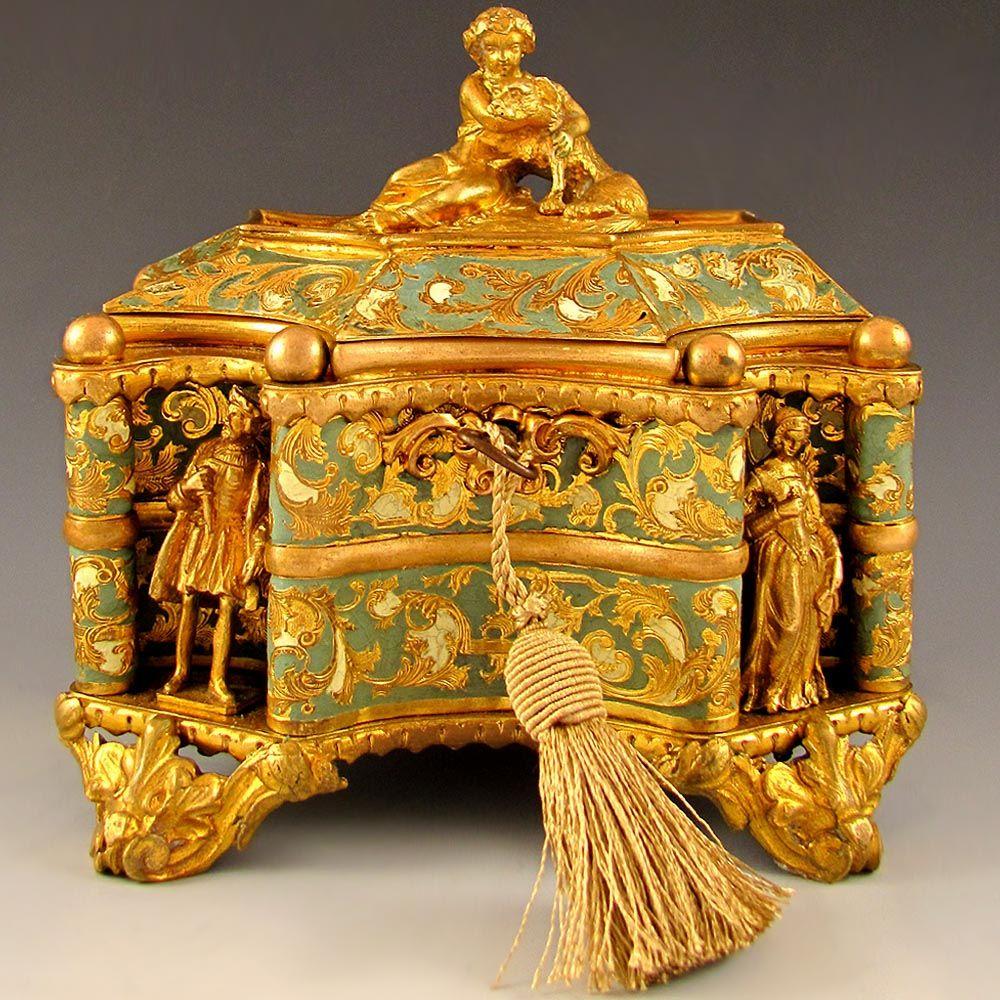 Antique French Tahan Paris Gilt Bronze Enamel Jewelry