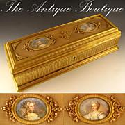 "SOLD Large 13"" Antique French Bronze Double Portrait Jewelry Casket"