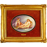 Antique French Signed Hand Painted Portrait Porcelain Plaque, Nude & Cherub