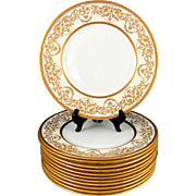 12 Royal Doulton English Porcelain Raised Gilt Enamel Gold Encrusted Plates Set, Davis Collamo