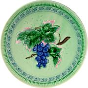 SALE Vintage W. German Majolica Plate Grape Motif