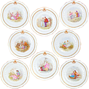 """SALE 8 Antique 19thc French Sevres Porcelain Hand Painted Scenic 10"""" Plates Set"""