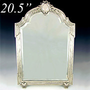 SALE Large Antique 19c French Sterling Silver Beveled Glass Table Top Dresser / Vanity Mirror