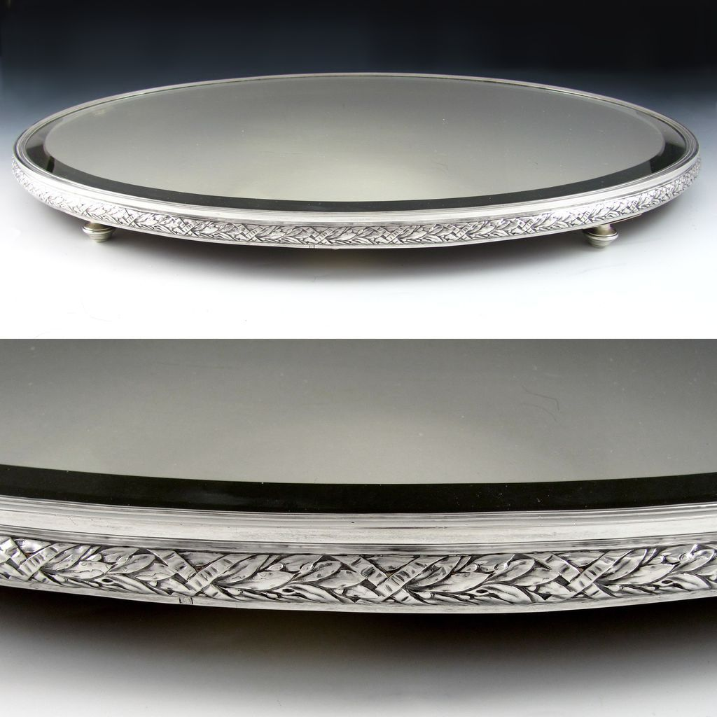 Large Antique French 950 Sterling Silver Oval Mirror