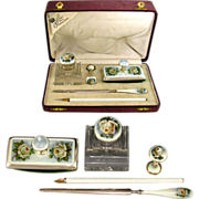 Antique Sterling Silver 935 Guilloche Enamel 5pc Writing Desk Set : Cut Crystal Inkwell, Wax S