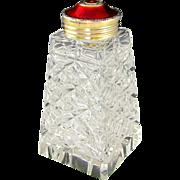 Norwegian Hroar Prydz Norway Sterling Silver Red Guilloche Enamel Glass Sugar Shaker