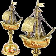 SOLD Antique Austrian Sterling Silver Gilt Vermeil Viennese Enamel Miniature Boat Shaped Snuff