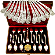 Antique French Sterling Silver 950/1000 Gilt Vermeil Tea / Dessert Service, Set of Spoons, ...