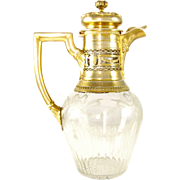 SALE Antique French Sterling Silver Gilt Vermeil & Floral Engraved Cut Crystal Claret Jug