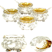 Antique French Sterling Silver Gilt Vermeil Salt Cellars & Spoons Set, Glass Liners, In Bo