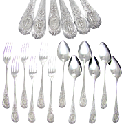 12pc Antique French Sterling Silver Flatware Service, Forks & Spoons