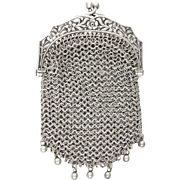 SOLD Antique French .800 Silver Chain Mail Mesh Chatelaine Purse, Embossed Art Nouveau Flowers