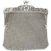 Antique French .800 Silver Chain Mail Mesh Chatelaine Purse, Flowers & Grapes