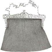 Large Antique Edwardian Sterling Silver Chain Mail / Mesh Lady's Purse Evening Bag, Love Birds