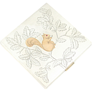 SALE Art Deco French Silver & 18K Gold Powder Compact Mirror, Engraved Squirrel with Ruby Eye
