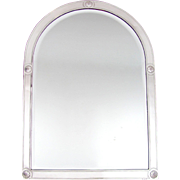Antique French Sterling Silver & Beveled Glass Standing Mirror Vanity / Dressing Table