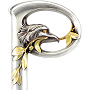 SOLD Antique French .800 Silver Gilt Vermeil Figural Eagle Head Cane Parasol Handle