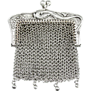 SOLD Antique French .800 Silver Chain Mail Mesh Lady's Chatelaine Purse, Figural Lizard Handle
