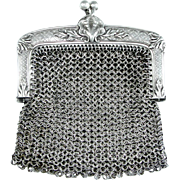 Ornate Antique French .800 Silver Chain Mail Mesh Chatelaine Purse, Shell Motif