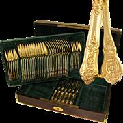 SALE 48pc Antique French Sterling Silver Gilt Vermeil Napoleon III Empire Flatware Service, Se