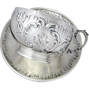 SALE Large Antique French Sterling Silver Repousse Chocolate, Tea / Coffee, Cup & Saucer Set,